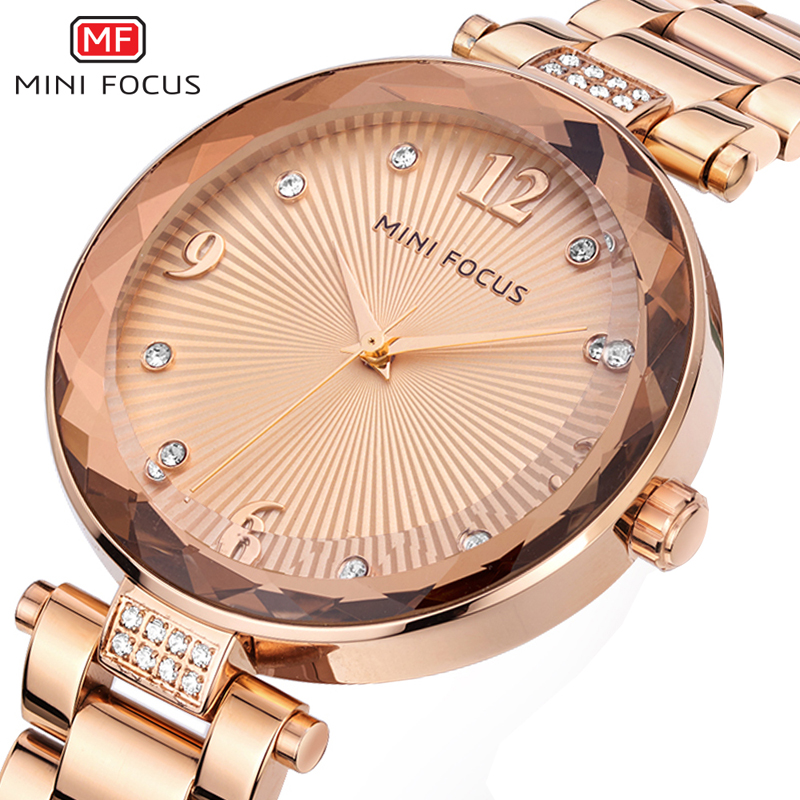 MINIFOCUS New Fashion Rhinestone Ladies Watch Stainless Steel Women Wristwatch Top Brand Luxury Rose Gold Bracelet Clock Female