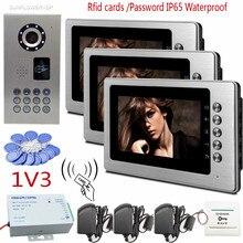 Rfid Keyboard IP65 Waterproof Video Door Phone Doorbell Intercom Infrared Night Vision Video Doorphone With 3pcs 7″ Color Indoor