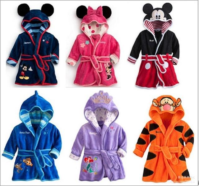 Roupão criança Outono Inverno Flanela Dos Desenhos Animados do Tigre/Minnie/Cat/roupão de banho para crianças Roupa das meninas dos meninos Do Bebê Do Homem Aranha