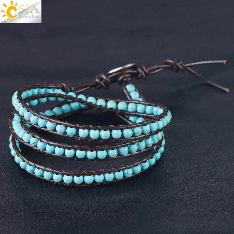 1c550b898cd5 ... CSJA Leather Bracelets Green Turquoises Multilayer Triple Beaded Wrap  Bracelet for Men Women 6mm Wide Handmade