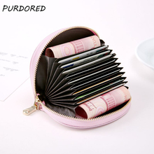 PURDORED 1 pc Casual Solid Color Card Wallet Coin Purse Women RFID Blocking Bank Card Case Leather Card Purse Dropshipping