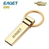 Nueva unidad flash usb 3.0 Eaget U90 oro usb 3.0 pasar h2test 16GB32GB64GB pen drive pendrive de Almacenamiento Externo de metal a prueba de agua usb