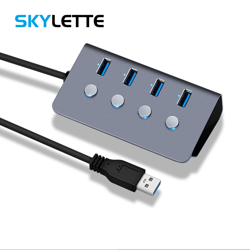 Sub-control Switch 4-Port USB 3.0 HUB Aluminum Alloy 60/100/150cm Cable Upto 5Gbps Multi USB Splitter For Desktop Laptop