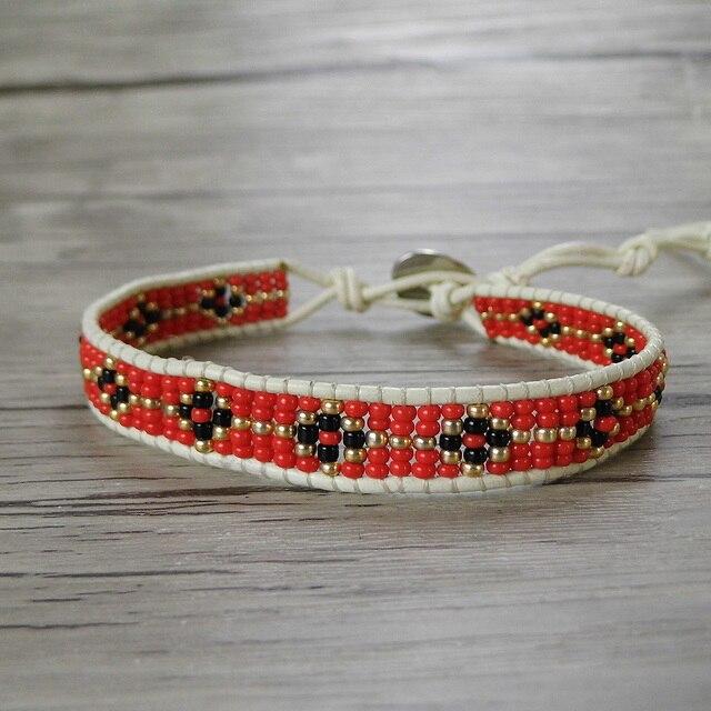 Red Tiny Seed Beads Bracelet Single Wraps Leather Beaded Boho Yoga Wrap Dropshipping Bohemian