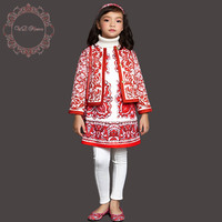 Girls Outfits 2017 Brand Winter Girl Clothing Set Children Clothes Majolica Print Kids Tracksuits (Jacket+Dress)