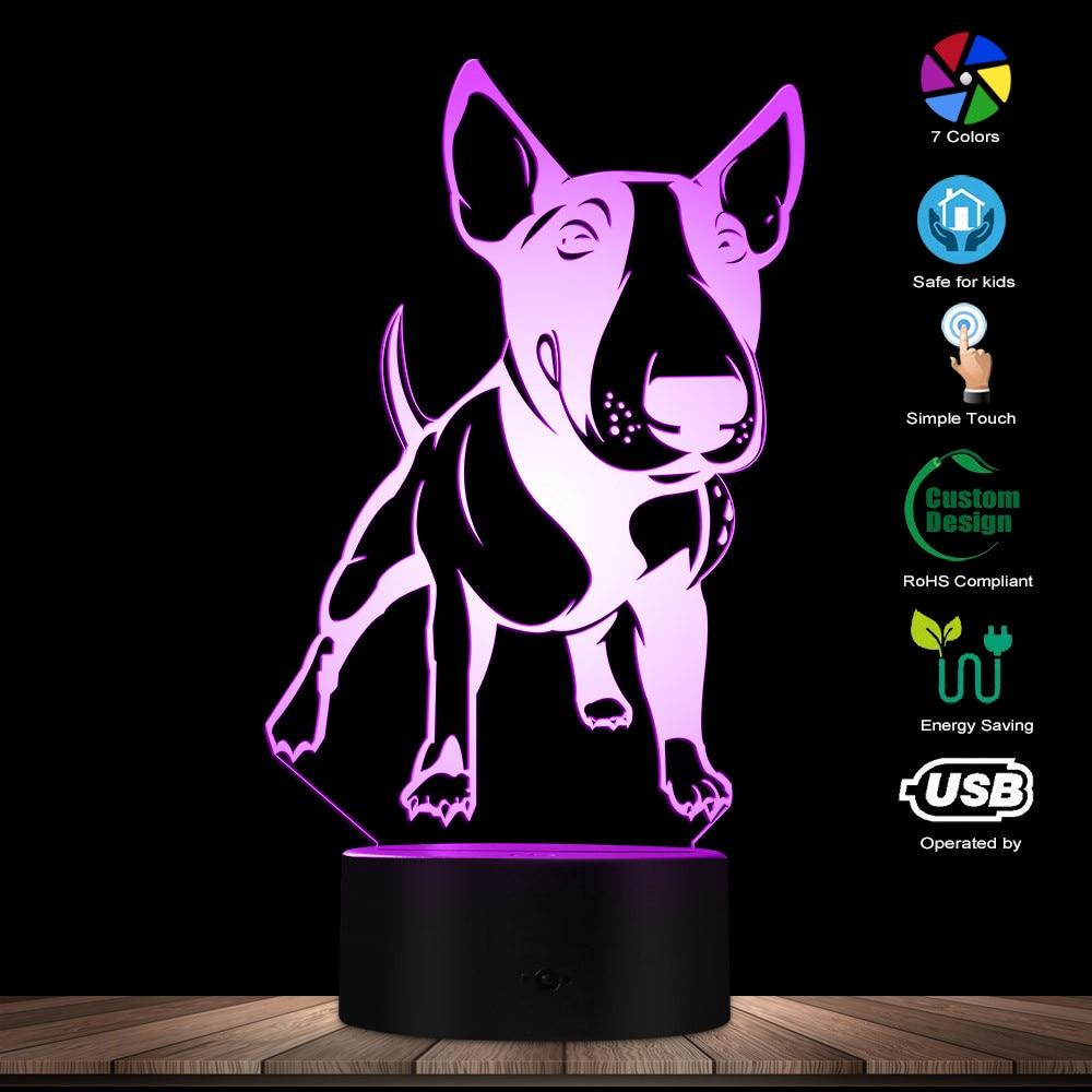 072067ba80 Inglés Bull Terrier forma diseñada Visual LED lámpara perro 3D ilusión  óptica lámpara de Decoración LED de luz de la noche lámpara de mesa