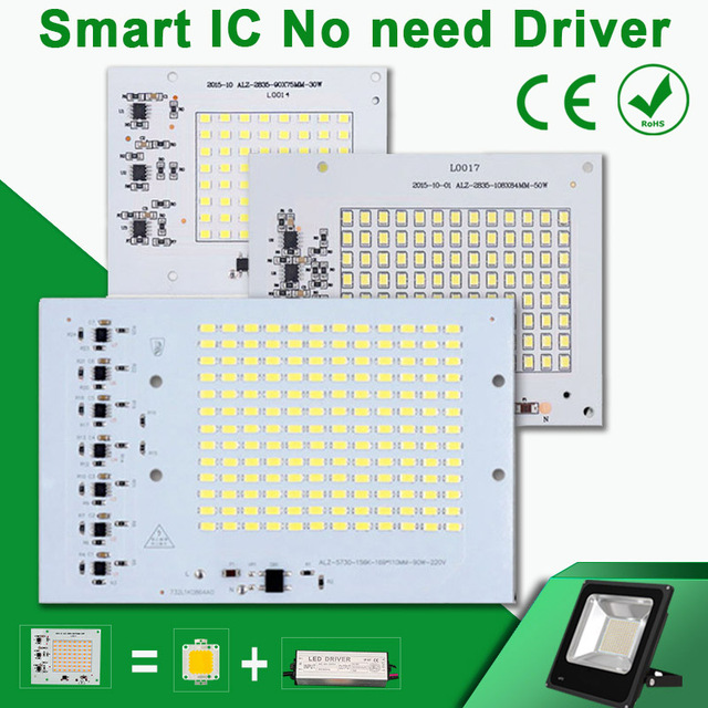 No need Driver SMD LED Lamps Smart IC 220V 10W 20W 30W 50W 100W For Outdoor FloodLight Cold White Warm White