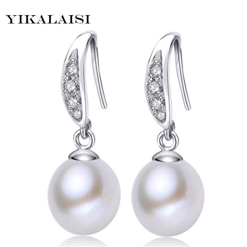 YIKALAISI 925 sterling sølv smykker Pearl smykker Øredobber Pearl for Women Water Drop Freshwater Pearl Earrings Wedding