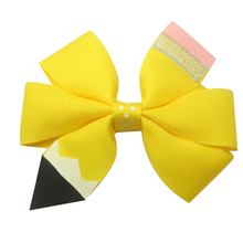 Adogirl 6Pcs/lot 5 Back To School Hair Bows Pen Hight Quality Ribbon Kids Clips Hand Made Children Accessories Gifts