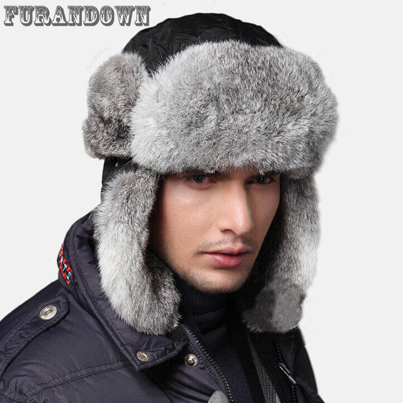 20ad30af916 High Quality 2017 Winter Mens Fur Bomber Hats With Ear Flaps Warm Russian Real  Rabbit Fur