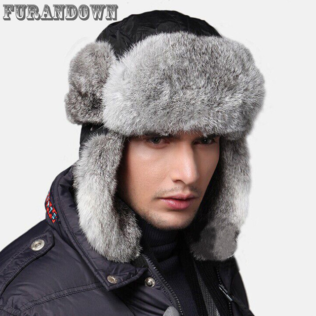 3068ac4df28 High Quality 2017 Winter Mens Fur Bomber Hats With Ear Flaps Warm Russian  Real Rabbit Fur