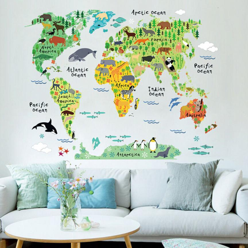 personality animal world map removable decal art mural home decor wall stickers 420china - World Map Decor