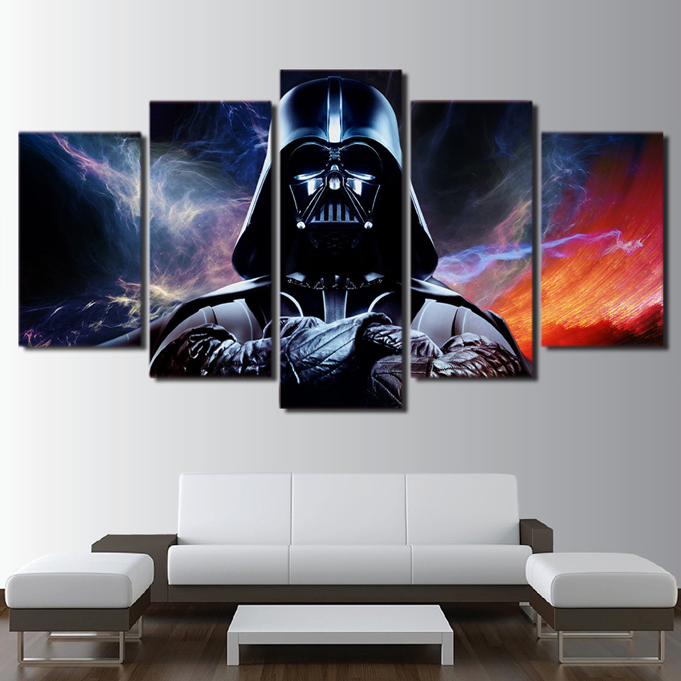 Hd printed 5 piece canvas art star wars painting star wars for Star wars home decorations