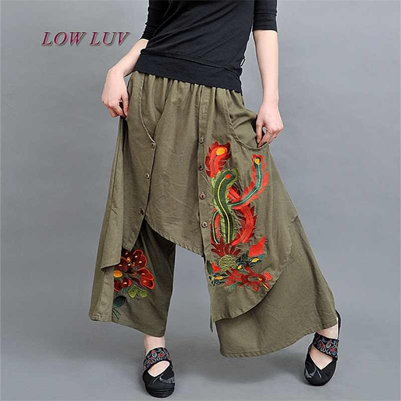 80388d5222a8 Vintage 70s Ethnic Wide Leg Pants Women Embroidery 2017 New Autumn Spring  Summer Chinese Green Black