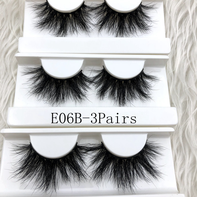 c428ac395eb Mikiwi 3Pairs Pack 3d Mink Eyelashes Thick Full Strip 25mm 3D Mink Lashes  Luxury Makeup Dramatic