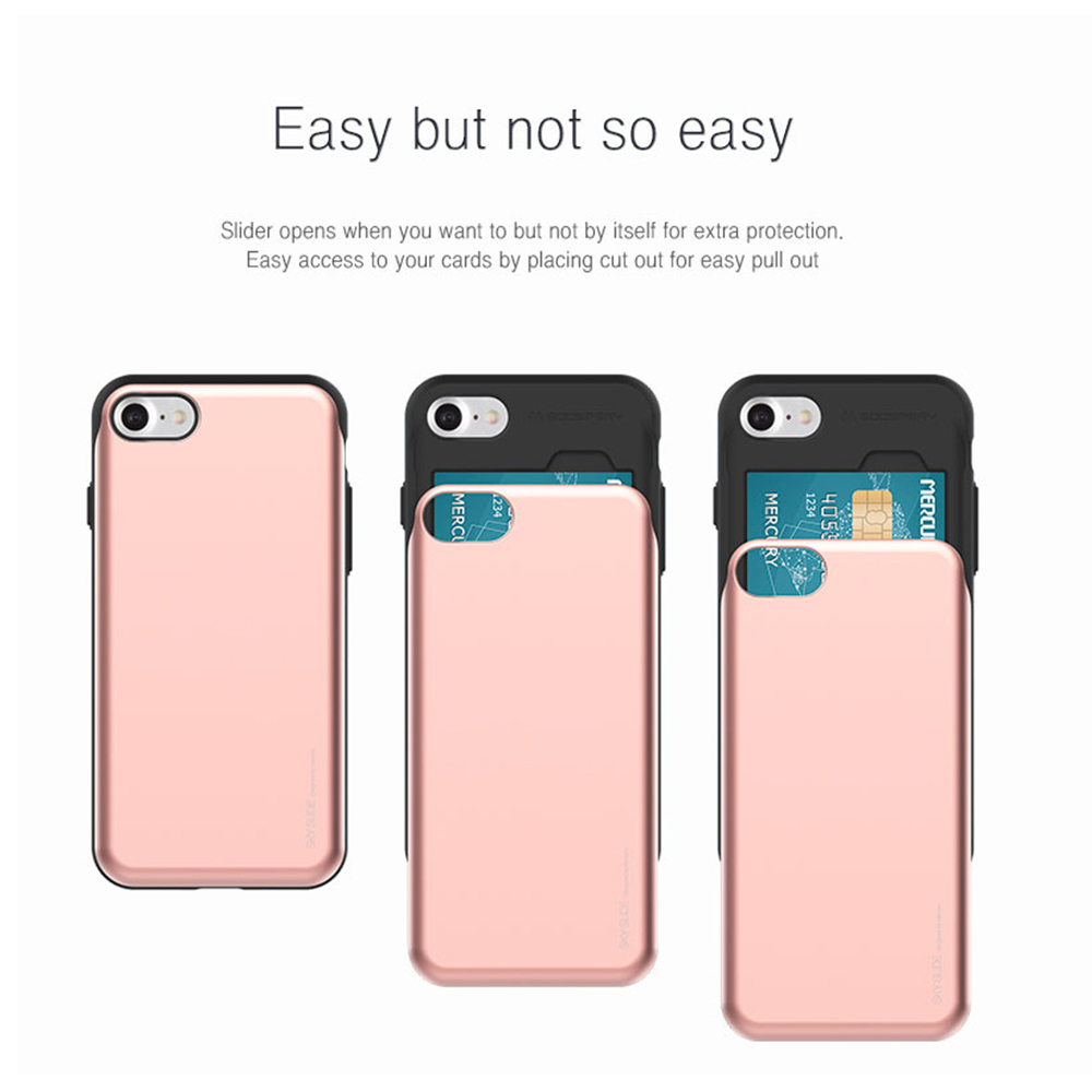 Original Brand Card Wallet Phone Case For iPhone 8 8 Plus Fashion Mercury Sky Slide Soft Silicone + PC Shock Proof Cover slide wallet