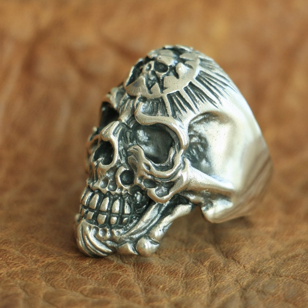 LINSION 925 Sterling Silver King of Hell Devil Skull Ring Mens Biker Punk Ring TA101 US Size 7~15