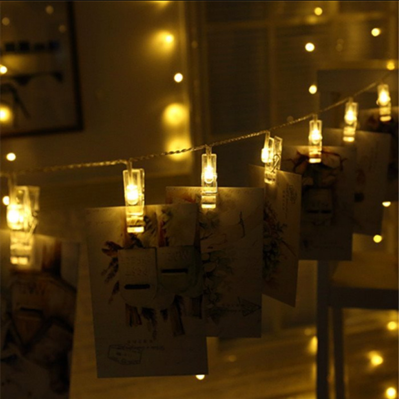 1M 10 LED 2M 20 LED Card Pictures Photos Clips Pegs Bright String Light Lamp Indoor Home Party Festival Decor 1