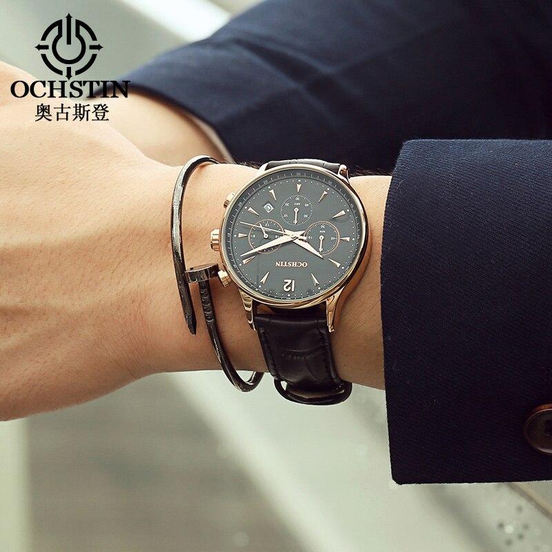 OCHSTIN часы для мужчин модные повседневное для мужчин кожаные непромокаемые кварцевые часы мужской наручные часы Relogio Masculino Relojes