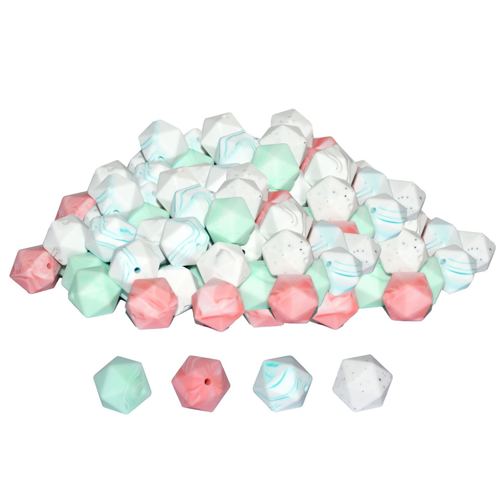 Buy 10pcs Lot Marble Color Silicone Teething Beads Us Baby Teether 3m 17mm Icosahedron Bead Food Grade Mordedor Silicona Diy Necklace From