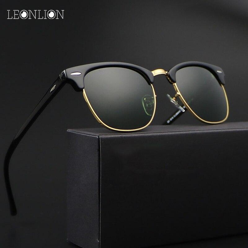 LeonLion 2018 בציר ללא מסגרת משקפי שמש גברים/נשים UV400 מותג מעצב קלאסי Oculos Desol מתכת משקפיים נשים