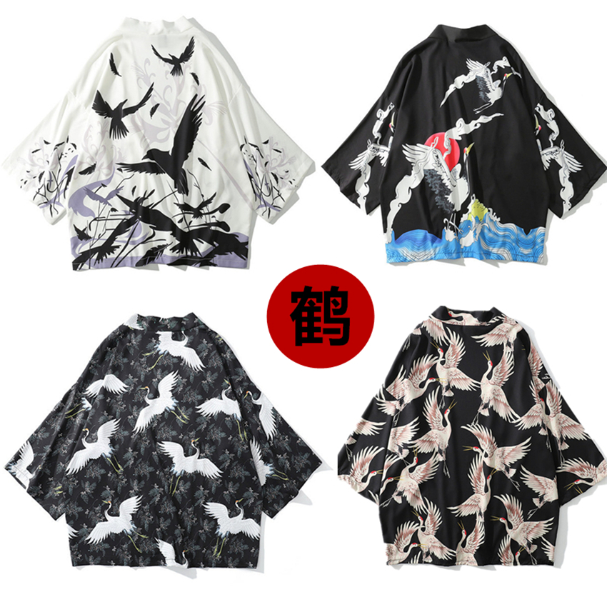 6Color Japanese Style Clothing Kimono Robes Haori Traditional Print Crane Silk Cardigan Women Mens Fashion Asian Coat