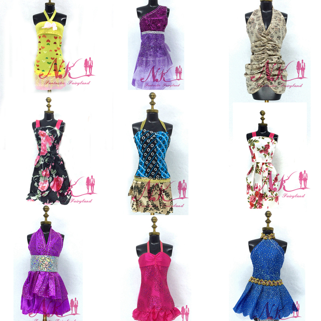 NK 10 Set/Lot Randomly Mix Style Newest Doll Dress Beautiful Party Clothes Top Fashion Dress For Barbie Doll Best Girls' Gift