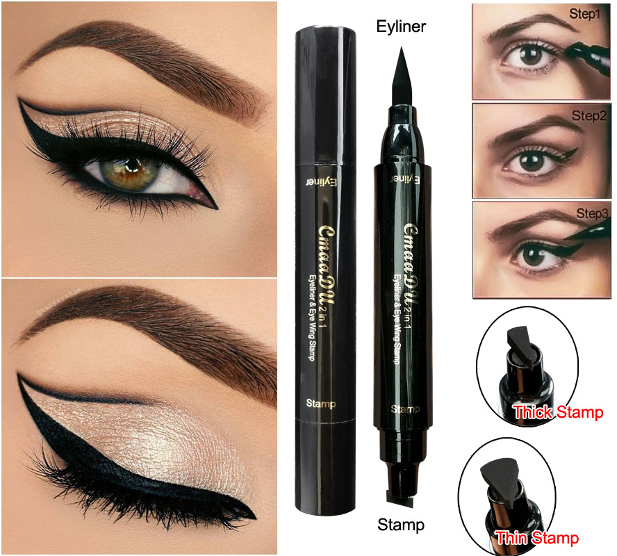 Cat eye makeup with pencil eyeliner