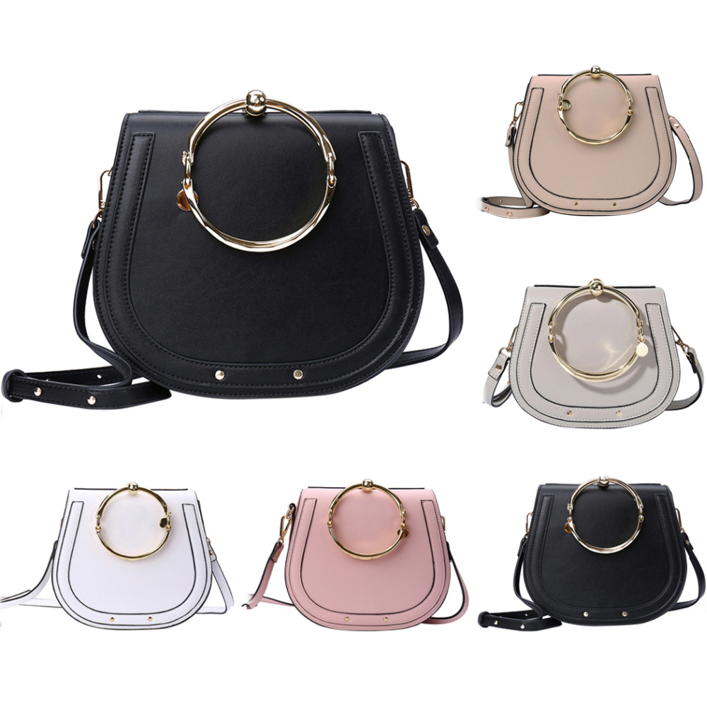 Coofit The New Female Ring Saddle Bags Unique Metal Ring Handle PU Leather Handbags Women Crossbody Bag For Girls Pink Black Bag pu leather stitching metal ring crossbody bag
