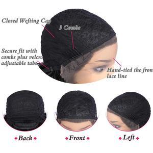 Image 4 - お気に入り黒レースフロント 1.5*30 ロングアフロカーリー耐熱性繊維の毛黒人女性のための毎日パーティーアフリカ合成かつら