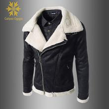 Fashion New Moto Jackets Mens Fur Collar Coat Winter Warm Lined Inside Short Leather Outwear Fleece Jacket Parka