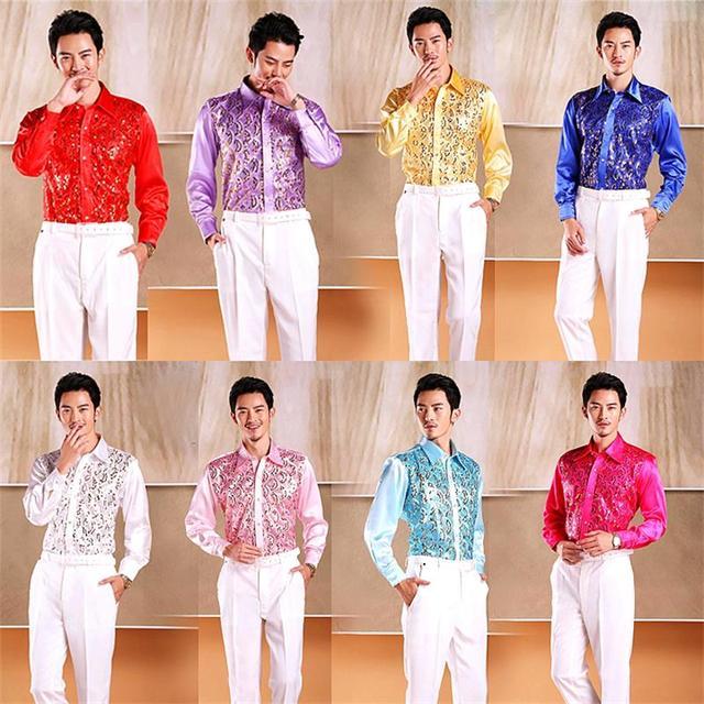 Rendimiento Camisa de Los Hombres del Partido de Lentejuelas Cantata Canción y Danza Rendimiento Traje de la Etapa