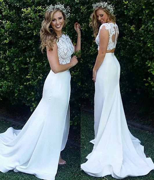 Two Piece Lace Wedding Dress 2016 Front
