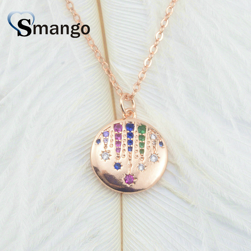 5Pieces The Rainbow Series Women Fashion The Round Card Shape Necklace 4 Colors Can Wholesale in Chain Necklaces from Jewelry Accessories
