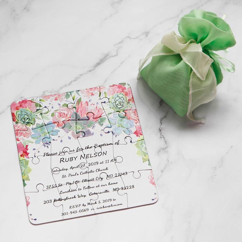 Tarjeta de invitación de boda personalizada Original rompecabezas cualquier idioma del país texto personalizado cualquier pedido de cantidad-in Tarjetas e invitaciones from Hogar y Mascotas    2