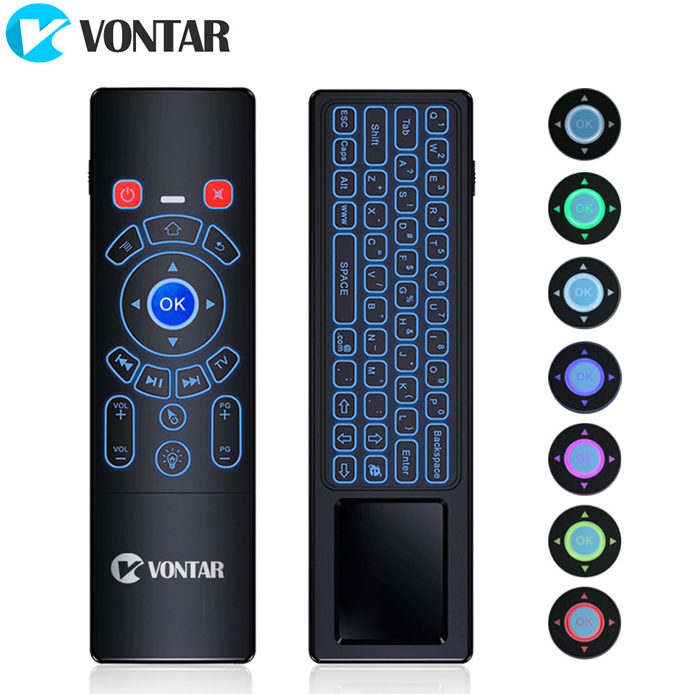 лучшая цена VONTAR T6 Plus Backlit 2.4GHz Air mouse mini Wireless Keyboard & touchpad Remote Control for Android TV Box mini PC Projector