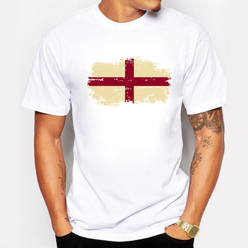Summer England Flag Mens T shirts Fashion Casual Round collar Nostalgic England Fans Cheer Tops & Tees For Men