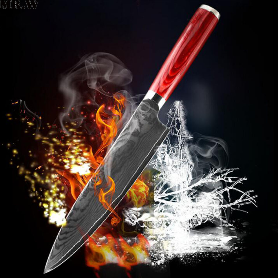 Brand Mr W 8 inch Damascus Chef font b Knife b font With Wooden Handle Japanese