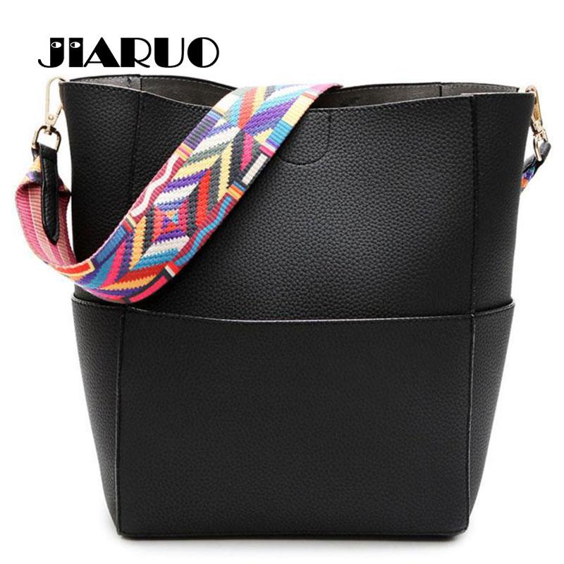 11ef6c10471b US $4.54 35% OFF|Luxury Brand Designer Bucket bag Women Leather Wide Color  Strap Shoulder bag Handbag Large Capacity Crossbody bag For Shopping-in ...