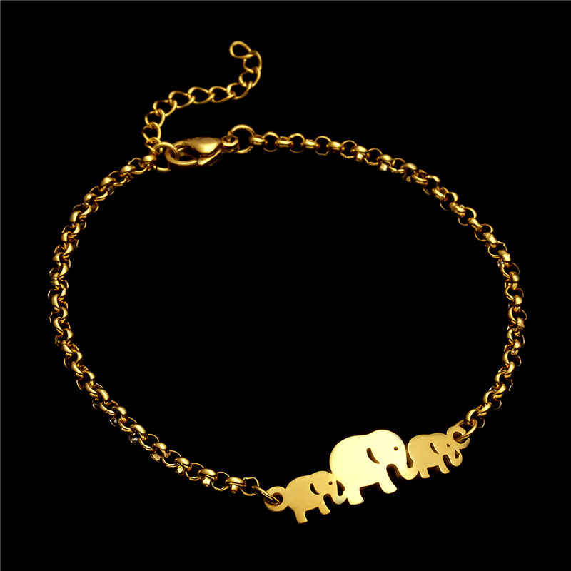 ใหม่สามช้างสแตนเลสสตีลสร้อยข้อมือทองกำไลสำหรับผู้ชายผู้หญิง