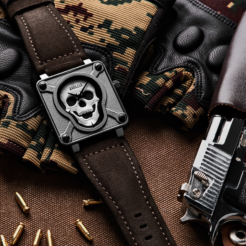 ФОТО Baogela Mens Waterproof Black Brown Leather Strap Square Dial Quartz Wrist Watches with Luminous Skull BGL1701