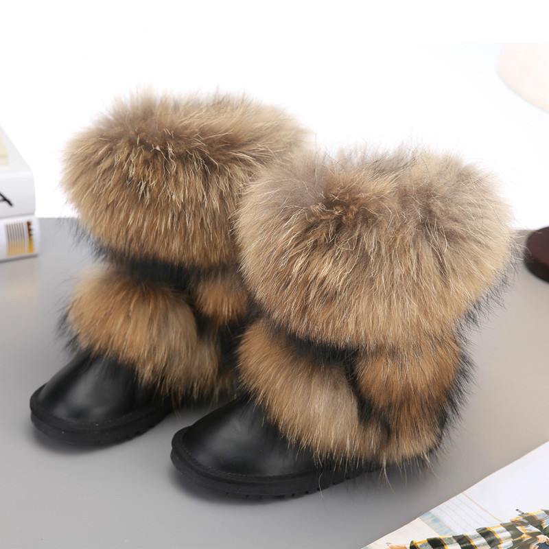 2019 New Fashion Big Fox Fur Woman Snow Boots Lady Winter Boots Genuine Cowhide Leather Mid