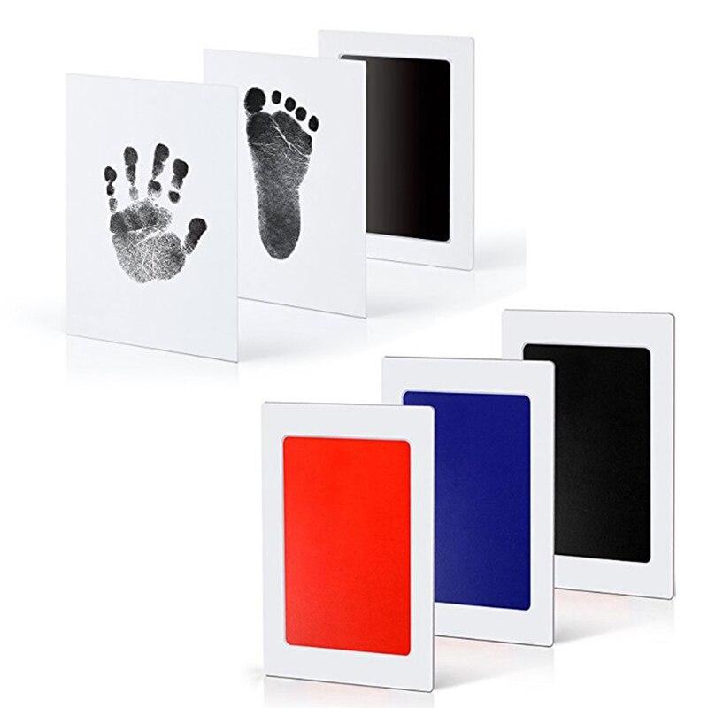 Tamanho grande não-tóxico bebê handprint pegada impressão kit lembranças do bebê fundição recém-nascido pegada tinta almofada infantil argila brinquedo presentes
