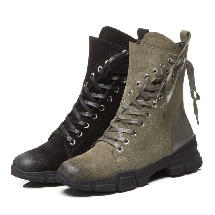 Dentro Invierno Botas Mujeres Zapatos Cuero Para De Militar Encaje Negro verde Plano Nieve Felpa 2018 {zorssar} Las Gamuza Martin Tobillo Corto a4q8qgt
