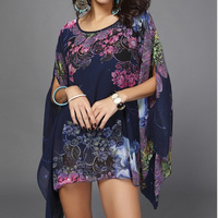 Tengeio Summer Chiffon Blouse Floral Printed Batwing Half Sleeve Loose Ladie Beach Top Cover Up White