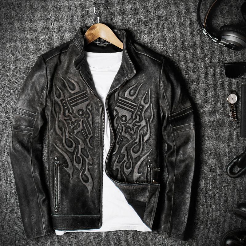 009239dea9d 2019 Vintage Black Men s Skull biker Leather Jacket Plus Size XXXL Genuine  Cowhide Slim Fit Motorcyclist Jacket FREE SHIPPING-in Genuine Leather Coats  from ...
