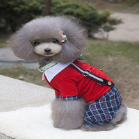 New Spring Summer Dog Navy Clothes Dog Dog Jacket Out Fashion Striped Cute Puppy Dress Two