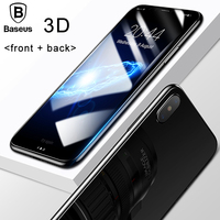 Baseus 3D Round Curved Edge Screen Protector For IPhone X Cover Front Back Tempered Glass Protective
