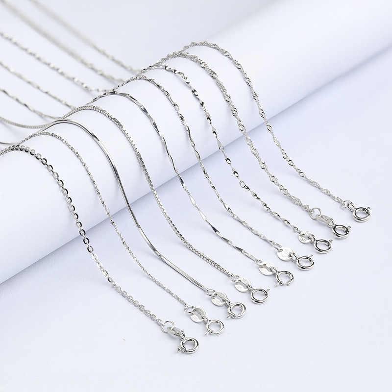 Martick oryginalna 925 Sterling Silver łańcuch fal wody dla kobiety 40 cm/45 cm 0.7/0.8mm naszyjnik łańcuch GSC1