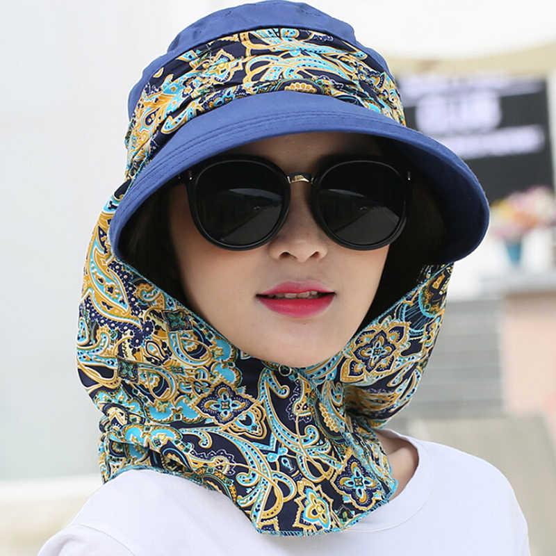 Fashion Wanita Musim Panas Outdoor Naik Anti Sinar UV Matahari Topi Pantai Lipat Tabir Surya Floral Cetak Topi Leher Wajah Lebar Brim Topi